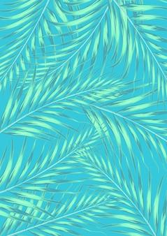 Hojas de palmeras tropicales de verano con color pastel. concepto de fondo de verano