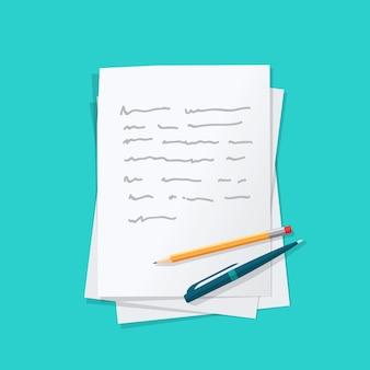 Las hojas de papel se amontonan con texto de contenido abstracto con bolígrafo y lápiz