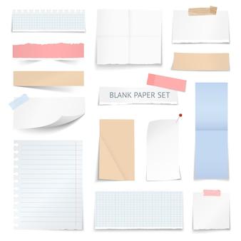 Hojas de papel en blanco tiras de colección realista