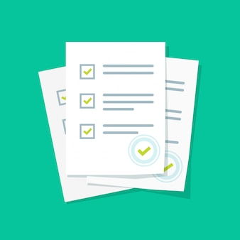 Las hojas de papel del formulario de encuesta o examen se apilan con una lista de verificación de la prueba y una caricatura plana de evaluación de resultados exitosos