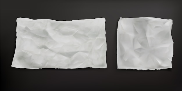 Hojas de papel para hornear arrugadas aisladas. vector realista de papel viejo en blanco con textura arrugada, pliegues y bordes rasgados. hoja de pergamino resistente a la grasa