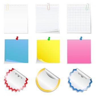 Hojas de papel y pegatinas