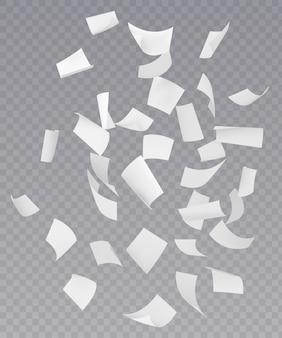 Hojas de papel voladoras caóticas que caen