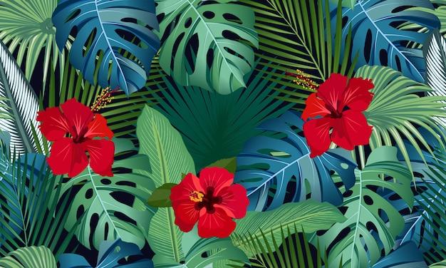 Hojas de patrón transparente de vector tropical con flor de hibisco rojo
