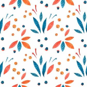 Hojas de patrones sin fisuras acuarela navidad con flor de pascua