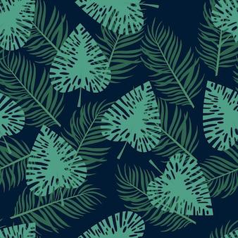 Hojas de patrones sin fisuras botánica con selva tropical.