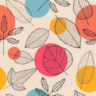 Hojas de patrones sin fisuras, fondo de otoño dibujado a mano. lineal, blanco y negro