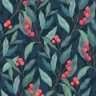 Hojas y patrones sin fisuras de frutos rojos sobre un fondo oscuro.