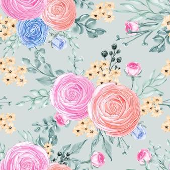 Hojas de patrones sin fisuras hermosa flor rosa rosa