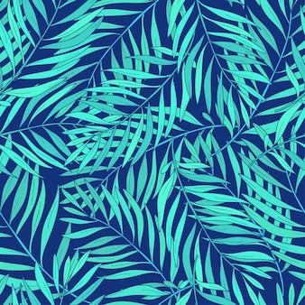 Hojas de patrones sin fisuras naturales con palmeras tropicales verdes sobre fondo azul.