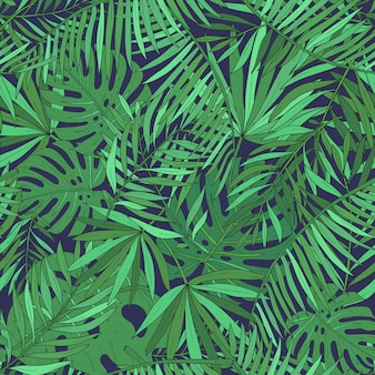 Hojas de patrones sin fisuras con palmeras tropicales. fondo exótico verde
