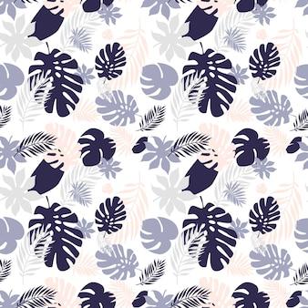Hojas de patrones sin fisuras. patrón de hojas tropicales de verano