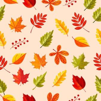 Hojas de patrones sin fisuras en la temporada de otoño con hojas de colores