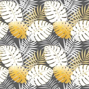 Hojas de patrones sin fisuras tropicales con hojas de palma
