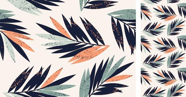 Hojas de patrones tropicales sin fisuras del vector con palmeras