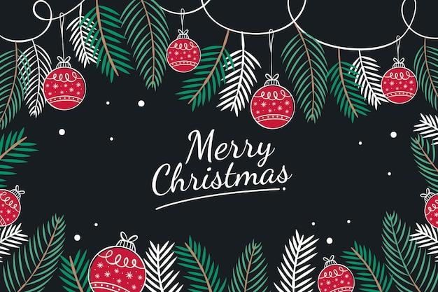 Hojas de pino y bolas rojas de navidad dibujadas a mano