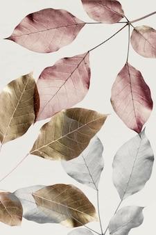 Hojas de plata con fondo de patrón de hojas de oro y rosa
