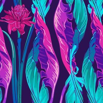 Hojas de plátano y etligeria flor patrón vertical
