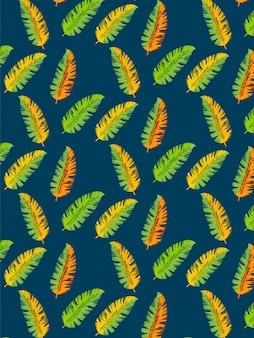 Hojas de plátano de patrones sin fisuras