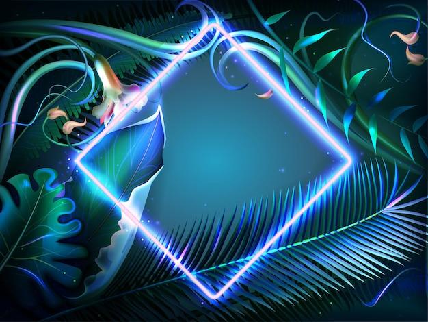 Hojas que brillan intensamente brillantes con marco de neón. plantas exóticas iluminadas, flores naturales y hojas de selva tropical con borde de forma cuadrada. cartel de fiesta disco de verano, volante tropical o tarjeta de invitación.