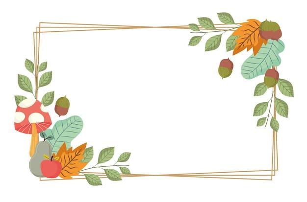 Hojas setas manzana bellota ramas follaje naturaleza marco ilustración