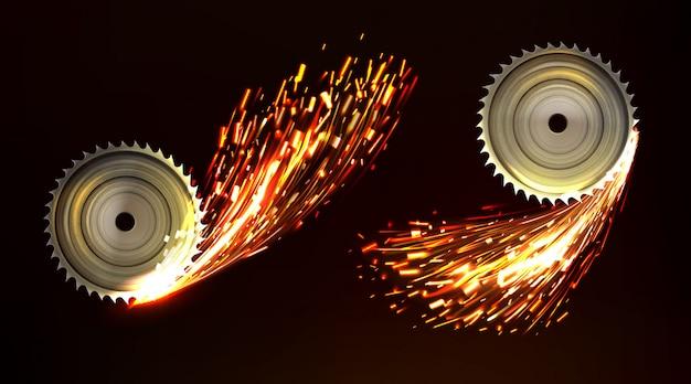 Hojas de sierra circular con chispas, fuego de trabajo de metal