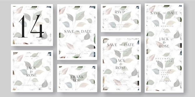 Hojas y tarjeta de invitación de boda de mármol blanco