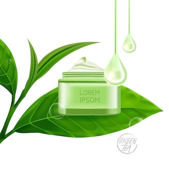 Hojas de té verde y producto de belleza.