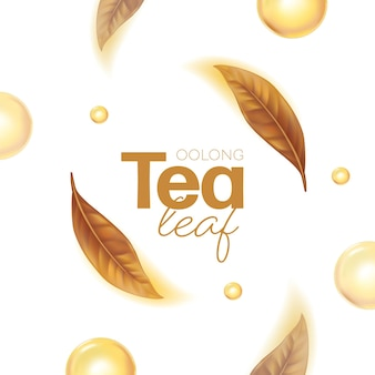 Hojas de té verde realistas