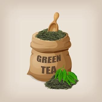 Hojas de té verde seco en un saco. ilustración