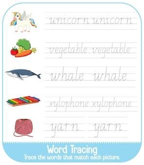 Hojas de trabajo de rastreo del alfabeto inglés