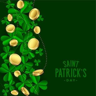 Hojas de trébol con monedas de oro saint patricks día fondo