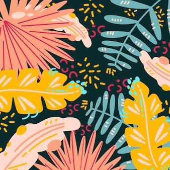 Hojas tropicales abstractas con fondo oscuro