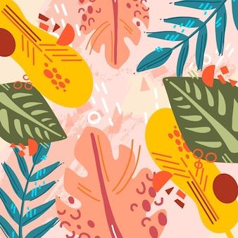 Hojas tropicales abstractas con fondo rosa
