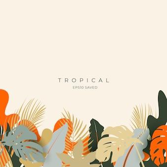 Hojas tropicales y colores de fondo de verano