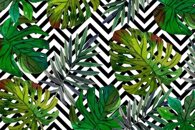 Hojas tropicales con diseño de fondo geométrico