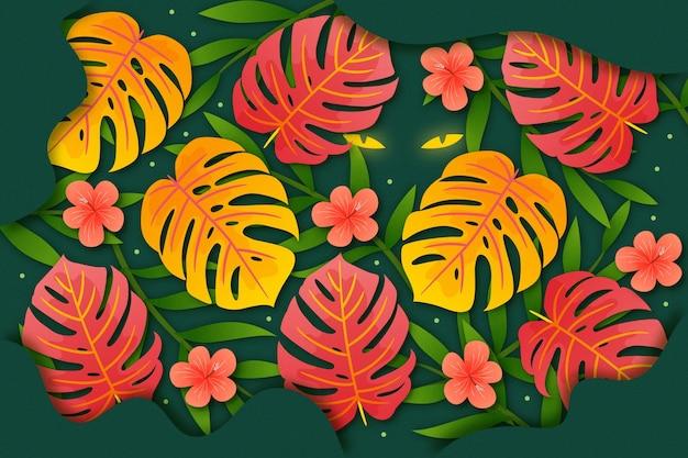 Las hojas tropicales doradas y rojas amplían el fondo