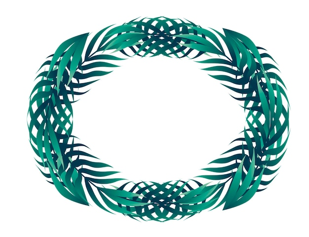 Hojas tropicales en el ejemplo plano del vector del concepto del marco del diseño floral del círculo en el fondo blanco.