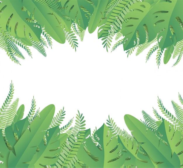 Hojas tropicales estilo de corte de papel