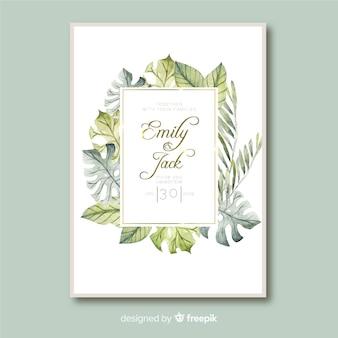 Hojas tropicales estilo invitación de boda plantilla acuarela