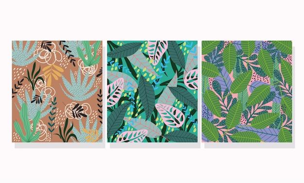 Hojas tropicales exóticas botánica floral banner o plantilla de portada