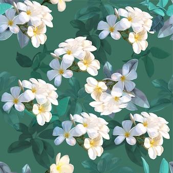 Hojas tropicales y flores de plumeria de patrones sin fisuras.