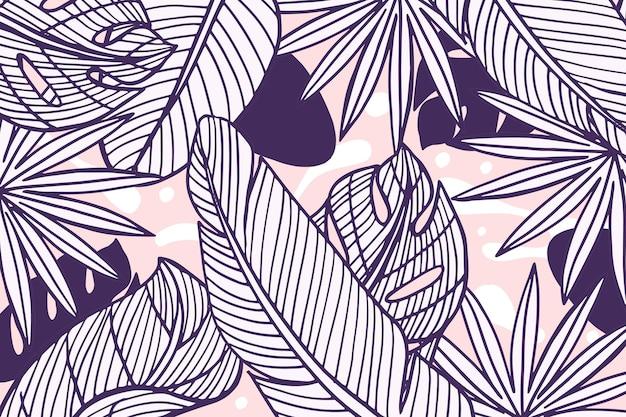 Hojas tropicales con fondo de color pastel