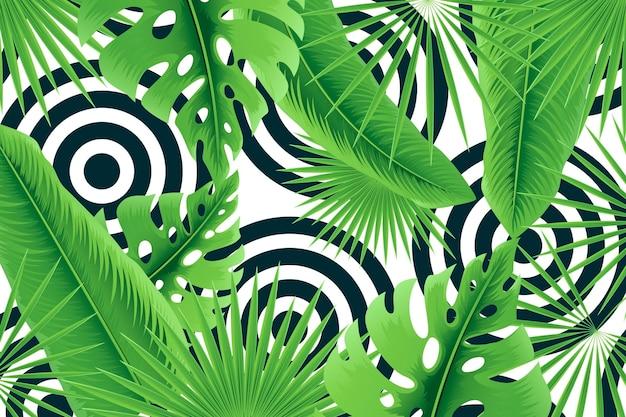 Hojas tropicales con fondo geométrico