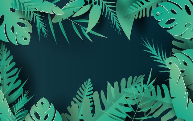 Hojas tropicales y fondo de naturaleza