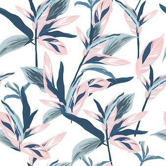 Hojas tropicales en humor en colores pastel diseño gráfico inconsútil