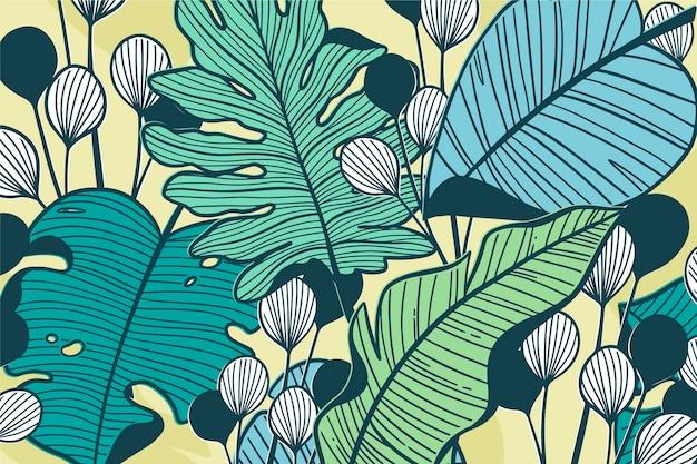 Hojas tropicales lineales en concepto de color pastel