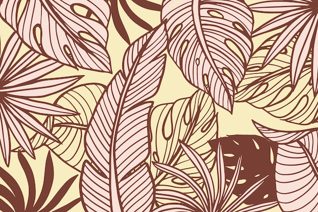 Hojas tropicales lineales con fondo de color pastel