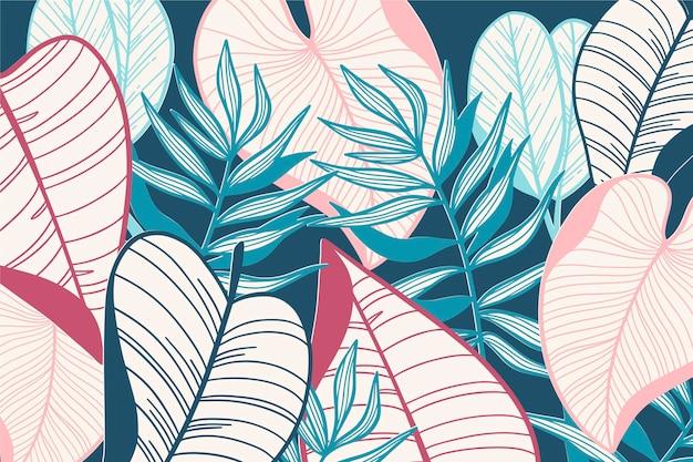 Hojas tropicales lineales en papel tapiz de color pastel