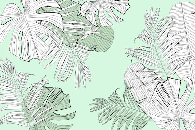 Hojas tropicales lineales con papel tapiz de color pastel